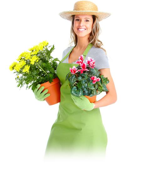Gärtnerin mit Blumentöpfe